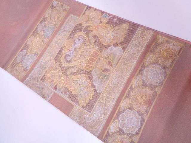 汕頭刺繍金彩向かい鳥に草花模様袋帯【リサイクル】【中古】