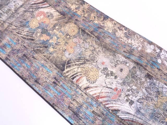 となみ織物製 縞に草花模様織出し袋帯【リサイクル】【中古】