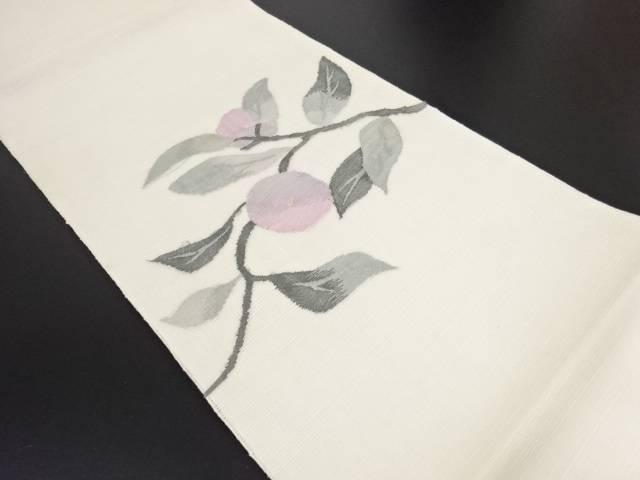 すくい織紗紬枝花模様織り出し袋帯【リサイクル】【中古】