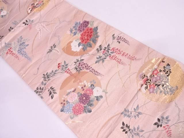 綴れ錦牡丹に草花模様織出し袋帯【リサイクル】【中古】