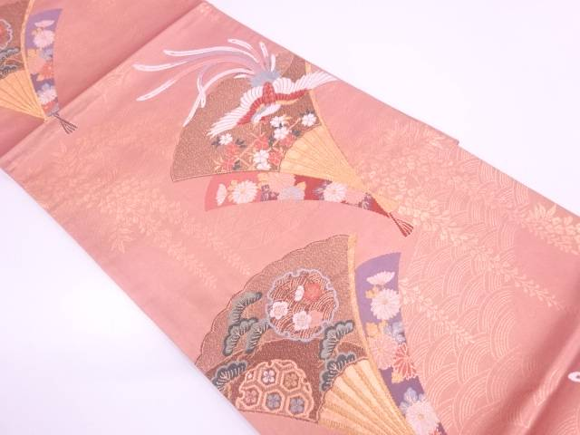 扇に極楽鳥・松模様織出し袋帯【リサイクル】【中古】