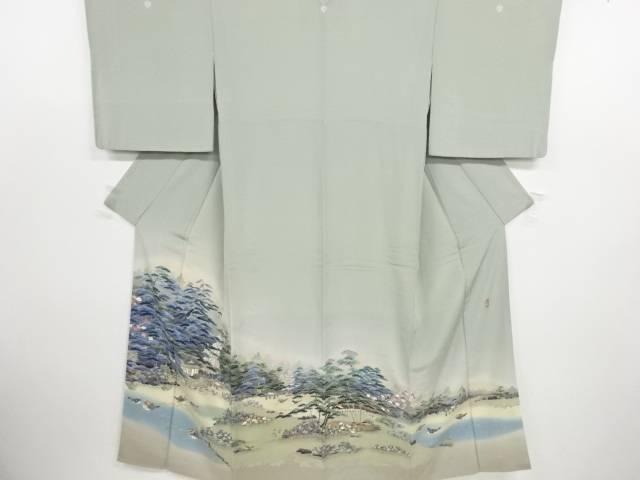 作家物 手描き友禅庭園風景に鴛鴦模様三つ紋色留袖(比翼付き)【リサイクル】【中古】