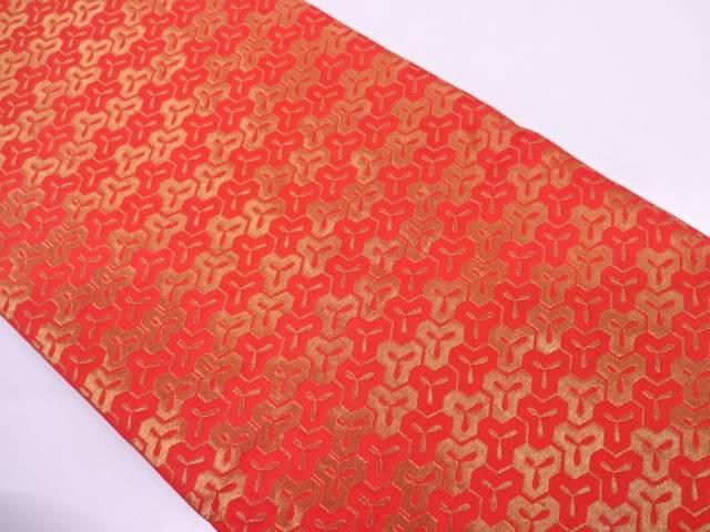 龍村美術織物製 毘沙門亀甲模様開き名古屋帯(額縁仕立て)【リサイクル】【中古】