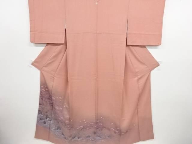 蘇州刺繍波に松・群鶴模様一つ紋色留袖(比翼付き)【リサイクル】【中古】