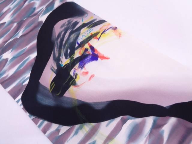 未使用品 大田子染塩瀬抽象模様開き名古屋帯【リサイクル】【中古】