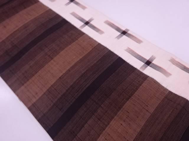 手織り紬横段模様織出し名古屋帯 【リサイクル】【中古】