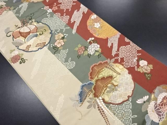 金糸雪輪に花模様織り出し袋帯【リサイクル】【中古】