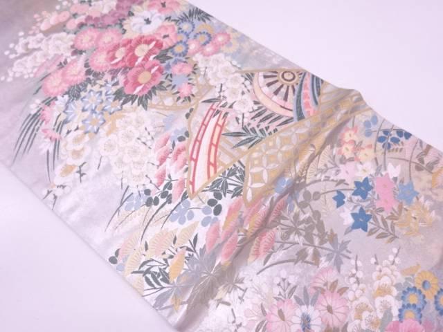 となみ織物製 引箔橋に花籠模様織出し袋帯 【リサイクル】【中古】