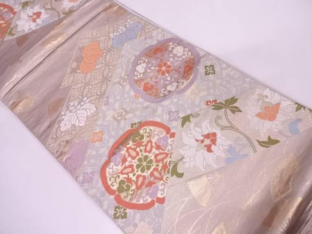 古典柄に草花模様織出し袋帯【リサイクル】【中古】