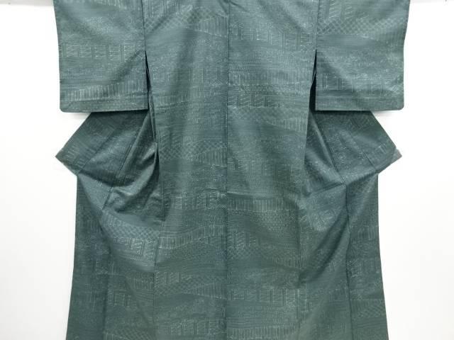 古典柄手織り紬単衣着物【リサイクル】【中古】