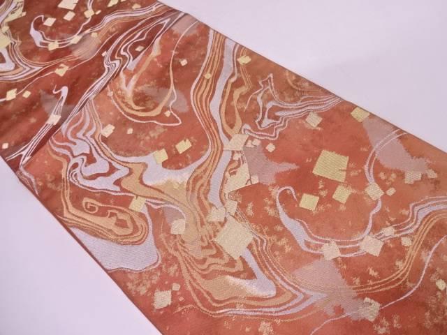 川島織物製 引箔破れ色紙に墨流し模様織出し袋帯【リサイクル】【中古】