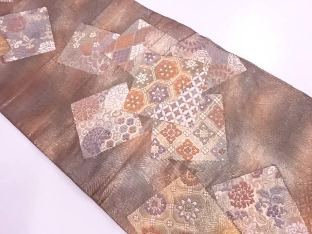 色紙散らしに草花模様織出し袋帯【リサイクル】【中古】