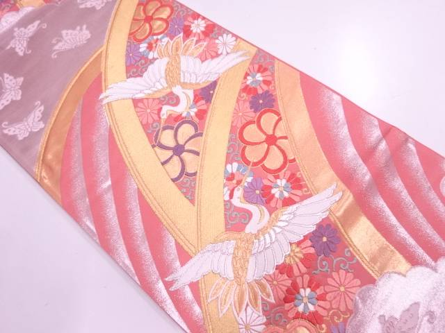 鶴に蝶・花唐草模様織出し袋帯【リサイクル】【中古】