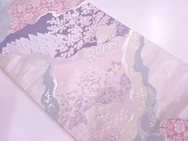 家屋に草花・風景模様織出し袋帯【リサイクル】【中古】