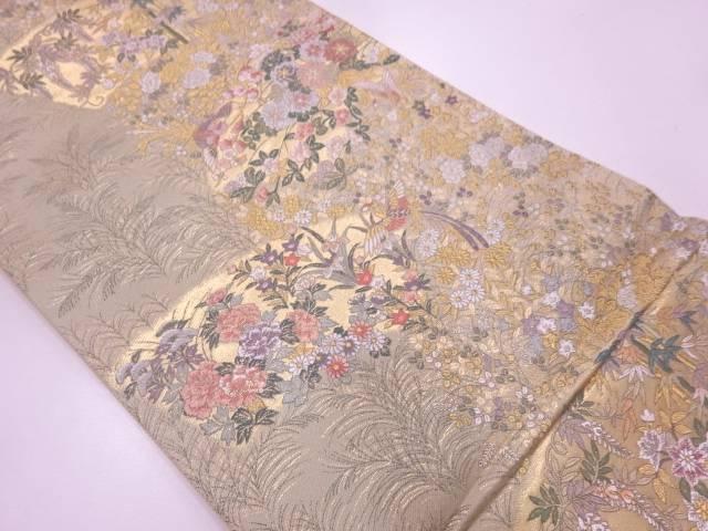 未使用品 地紙に花鳥模様織出し袋帯【リサイクル】【中古】