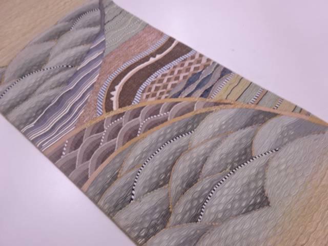 未使用品  紗 すくい織波模様織出し袋帯【リサイクル】【中古】