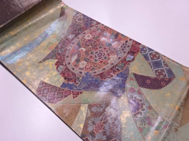 引箔螺鈿割れ絵皿に花鳥模様袋帯【リサイクル】【中古】