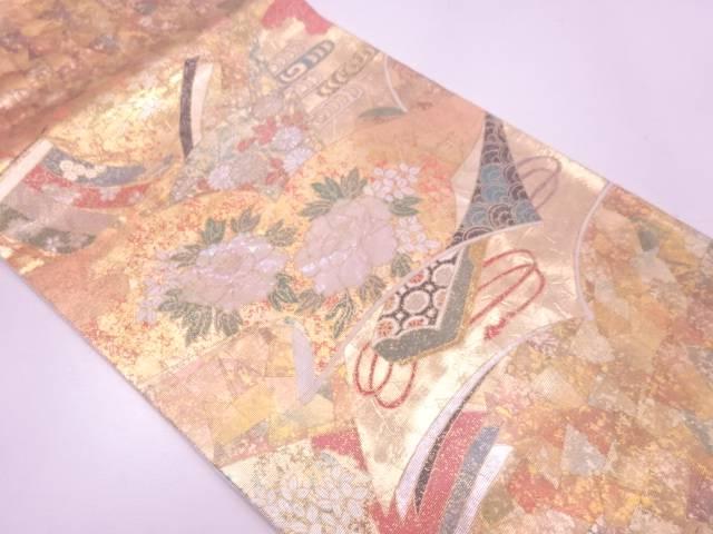 引箔螺鈿読本に牡丹・文箱模様袋帯【リサイクル】【中古】