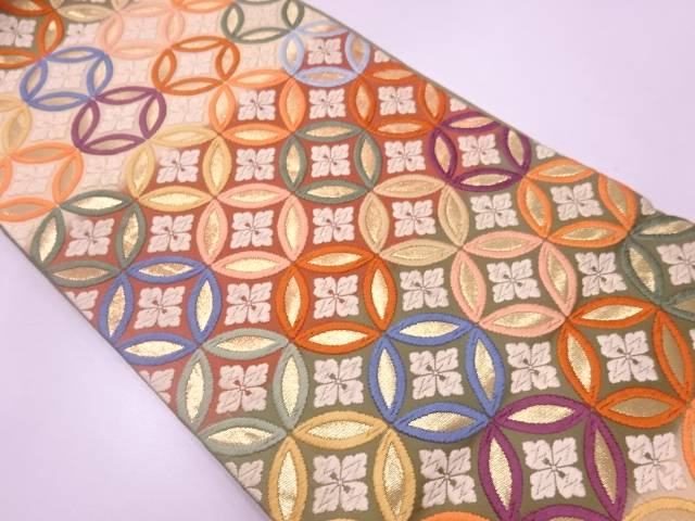 唐織七宝繋ぎに花模様織出し袋帯【リサイクル】【中古】
