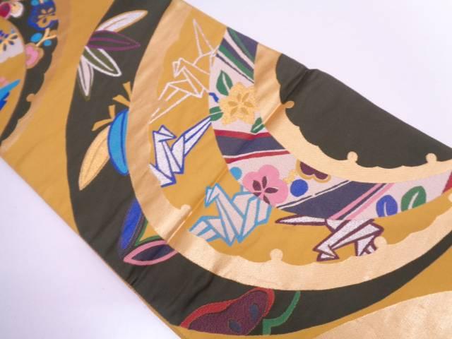 雪輪に折り鶴・草花模様振袖用袋帯【リサイクル】【中古】