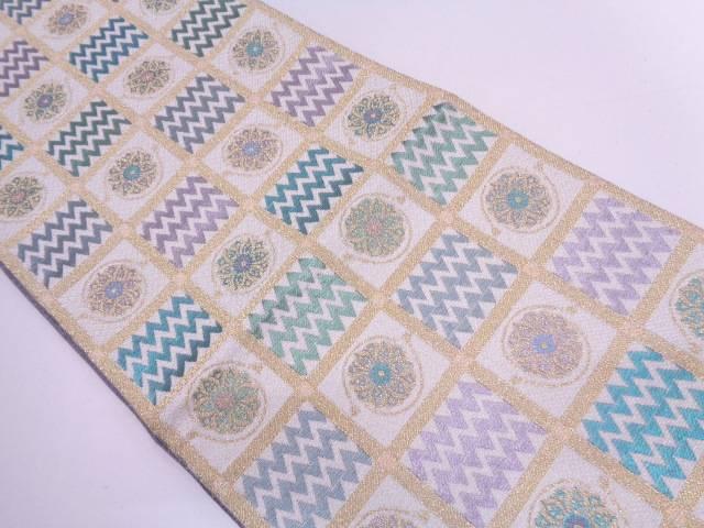 格子に花模様織出しリバーシブル袋帯【リサイクル】【中古】