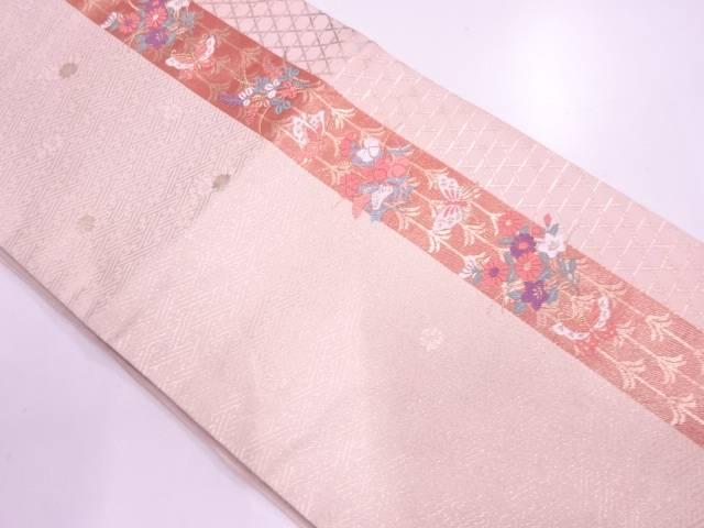 縞に草花・蝶模様織出し袋帯【リサイクル】【中古】