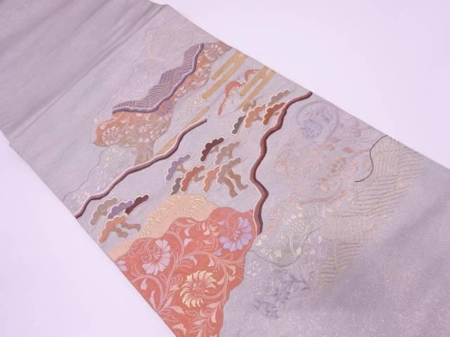 蘇州刺繍松に花唐草模様袋帯【リサイクル】【中古】