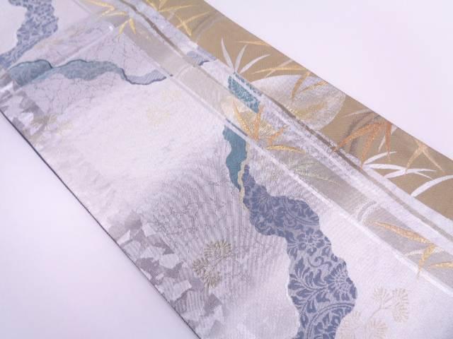 松笹模様織出し袋帯【リサイクル】【中古】