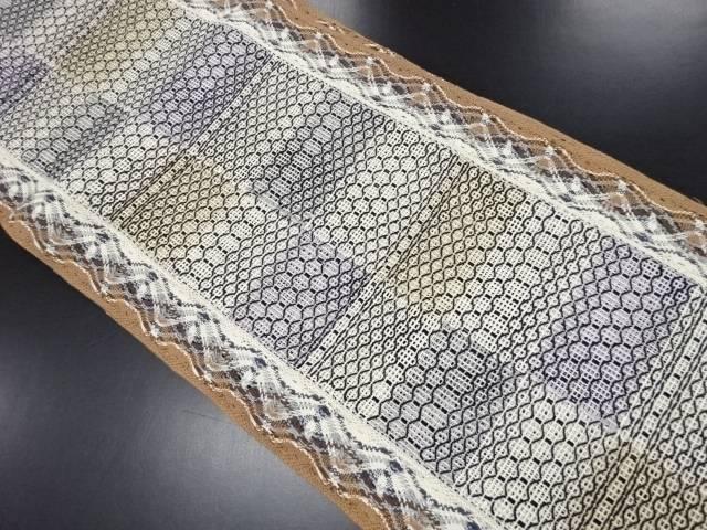 手組羅幾何学模様織り出し名古屋帯【リサイクル】【中古】