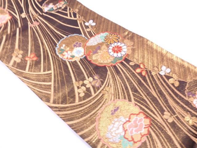 雪輪に草花模様織出し袋帯【リサイクル】【中古】