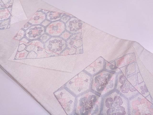 色紙に花・古典柄模様織出し袋帯【リサイクル】【中古】