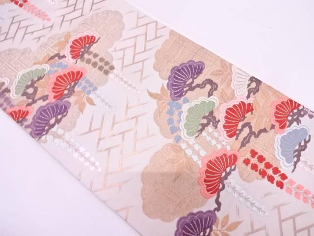 唐織松に藤模様織出し袋帯【リサイクル】【中古】