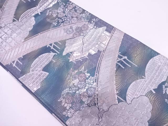家屋に橋・草花模様織出し袋帯【リサイクル】【中古】