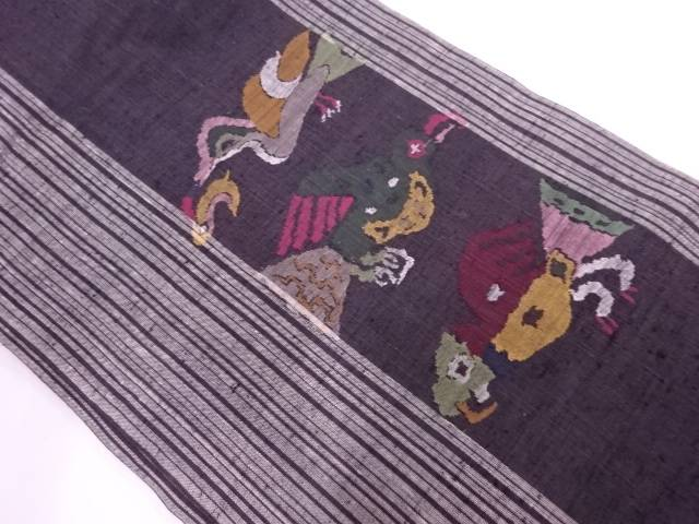 手織り紬鳥模様織出し名古屋帯【リサイクル】【中古】