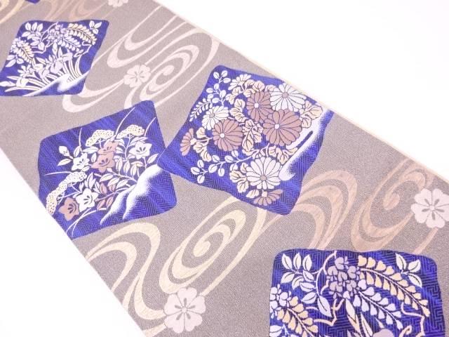 未使用品 色紙に草花・流水模様織出し袋帯【リサイクル】【中古】