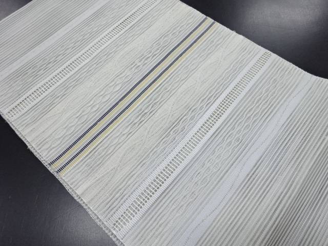 絽綴れ横段模様織り出し名古屋帯【リサイクル】【中古】