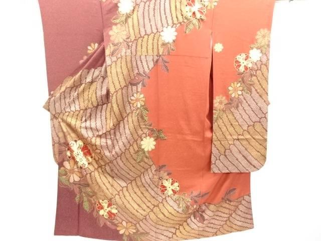 金彩菊桜模様振袖・袋帯セット【リサイクル】【中古】