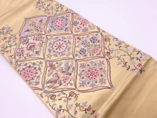 相良刺繍花鳥に唐草模様織出し袋帯【リサイクル】【中古】