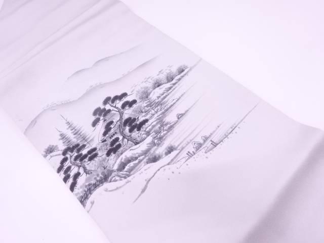 作家物 手描き家屋風景模様名古屋帯【リサイクル】【中古】