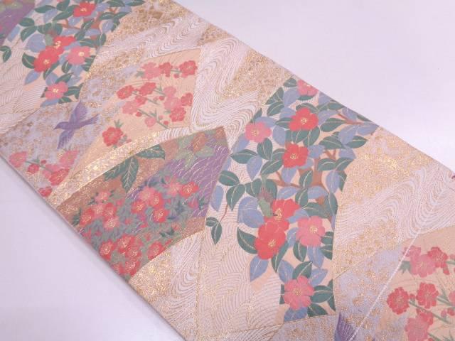 未使用品 地紙に花鳥模様織出し袋帯 【リサイクル】【中古】