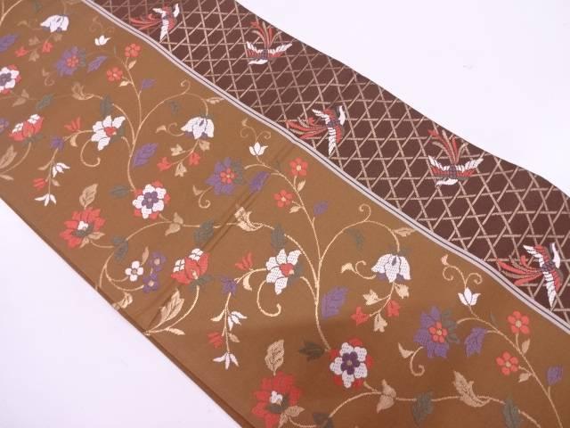 縞に花鳥・籠目模様織出し袋帯【リサイクル】【中古】