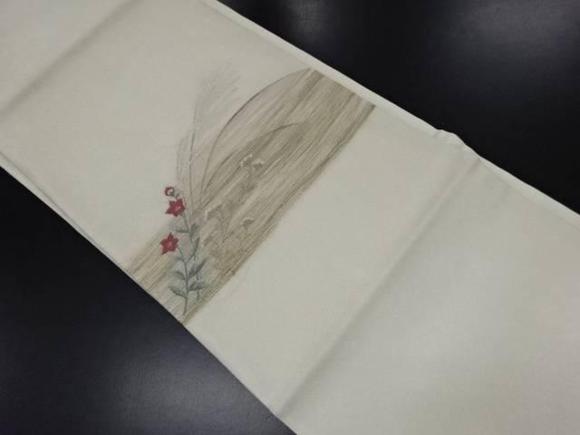紗 芒に桔梗模様織り出し名古屋帯【リサイクル】【中古】