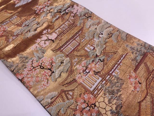 本金箔屋敷に松梅模様織出し袋帯【リサイクル】【中古】