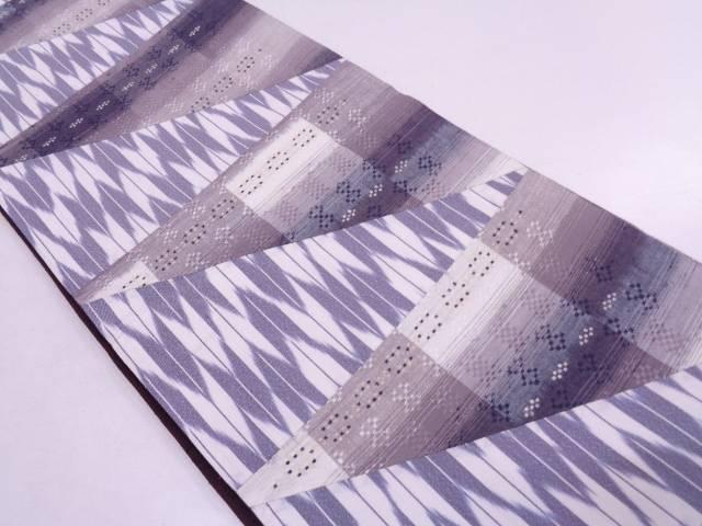 未使用品 切り嵌め花織手織り紬矢羽に抽象模様織出し全通袋帯【リサイクル】【中古】