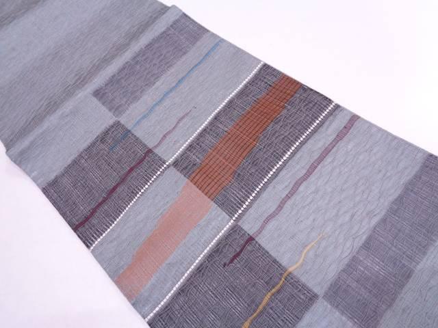 未使用品  紗 すくい織変わり格子模様織出し袋帯【リサイクル】【中古】