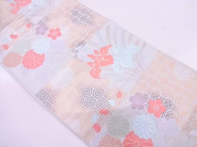 市松に草花・古典柄模様織出し袋帯【リサイクル】【中古】