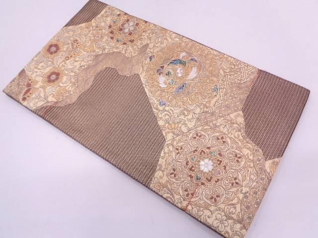 未使用品 金彩螺鈿花鳥模様織出し袋帯【リサイクル】【中古】