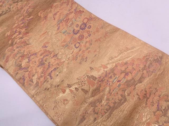 本金箔風景模様織出し袋帯【リサイクル】【中古】