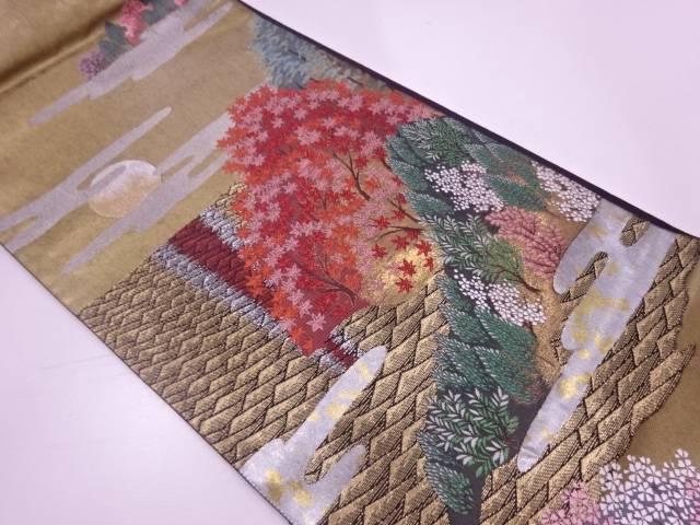 引箔紅葉に満月・樹木模様織出し袋帯【リサイクル】【中古】