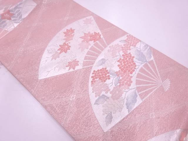 紗 扇に草花模様織出し袋帯【リサイクル】【中古】